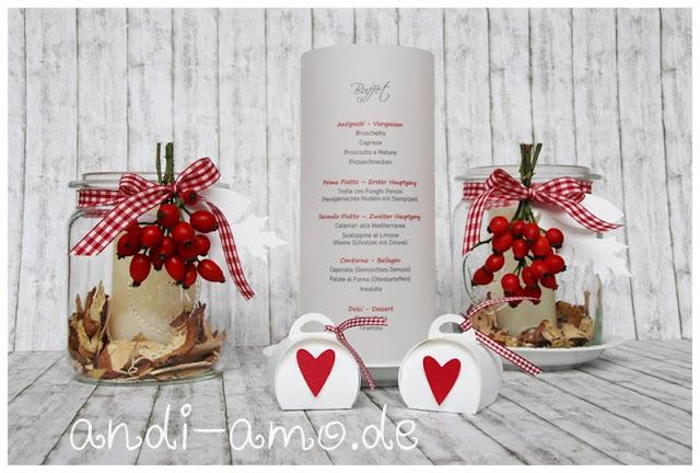 Tischdeko für Feste in Rot-Weiss