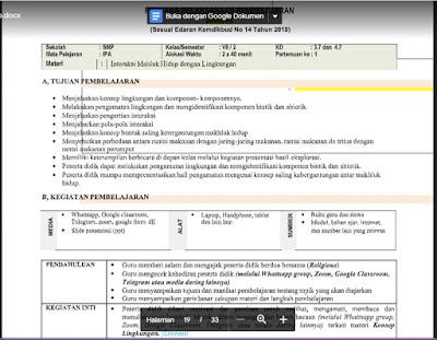 RPP Daring Ilmu Pengetahuan Alam (IPA) Kelas 7 Semester 2/Genap .docx