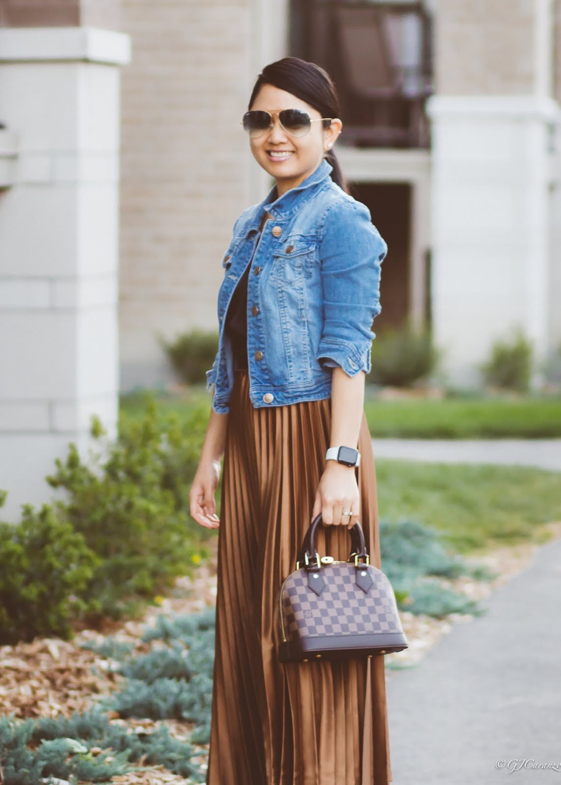 Zara Pleated Skirt | Denim Jacket | Ray-Ban Blue Aviator Sunglasses | Louis Vuitton Alma BB | Vince Camuto Ankle Boots | H&M Satin Camisole Top | Petite Outfit | Mom Style