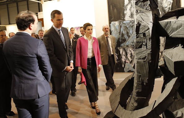 King Felipe VI and his wife Queen Letizia of Spain attend the official opening of the ARCO International Contemporary Art Fair at the Ifema exhibition site in Madrid