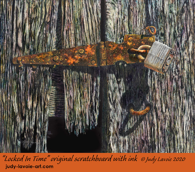 """""""Locked In Time"""" original Scratchboard with colored inks © Judy Lavoie 2020"""