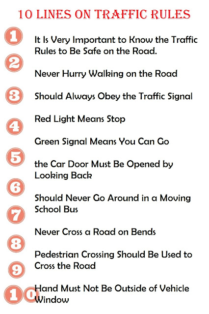 10 Lines on Traffic Rules in English for Kids