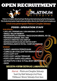 Loker Surabaya Terbaru di Platinum Cineplex Sidoarjo Februari 2018