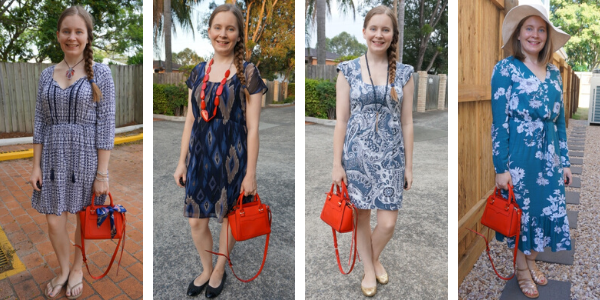 4 ways to wear a red bag with blue dresses | awayfromtheblue