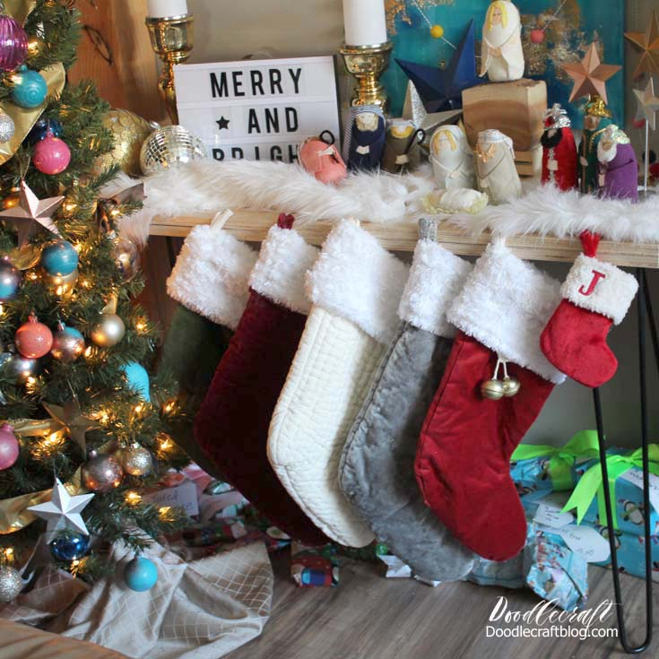 Make a gorgeous matched set of Christmas stockings with plush white fur cuffs.