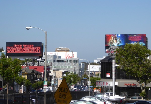 Stranger Things For Your Consideration neon billboard Sunset Strip