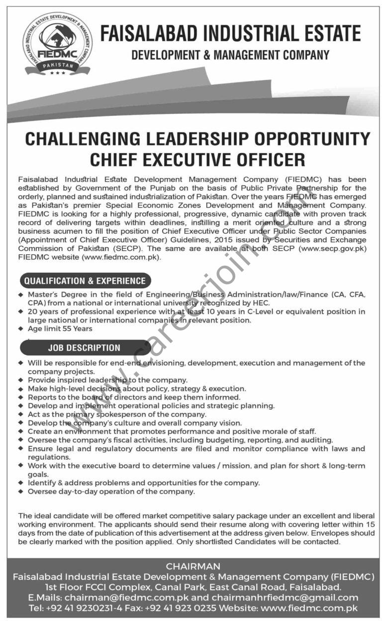 Faisalabad Industrial Estate Development & Management Company FIEDMC Jobs Chief Executive Officer