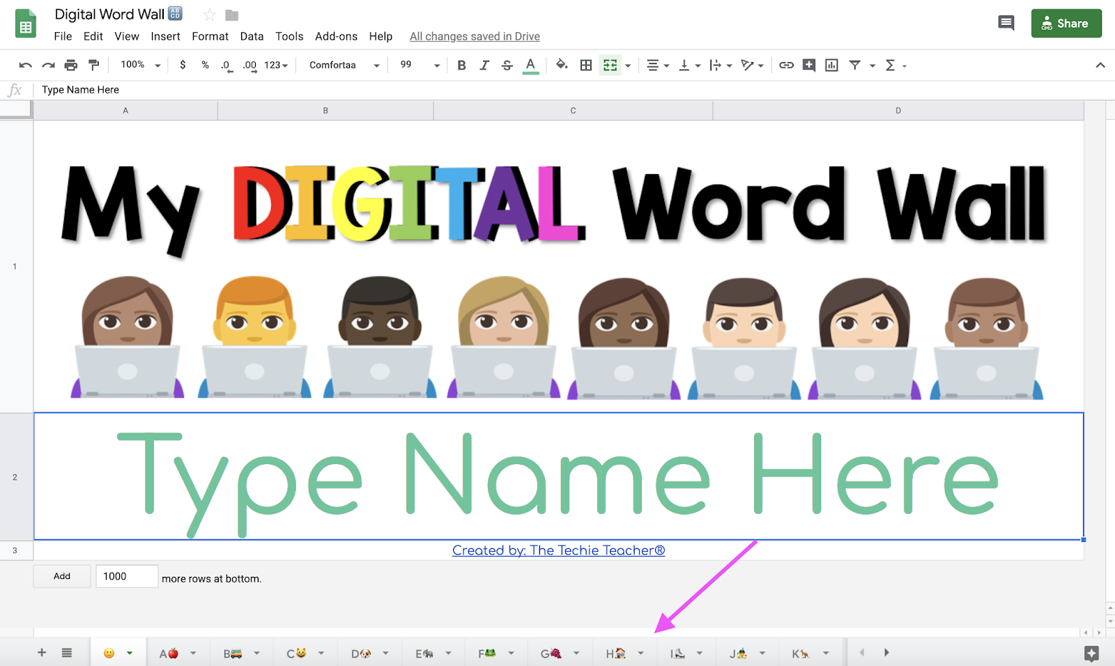 Digital Word Wall for Google Drive in Google Sheets