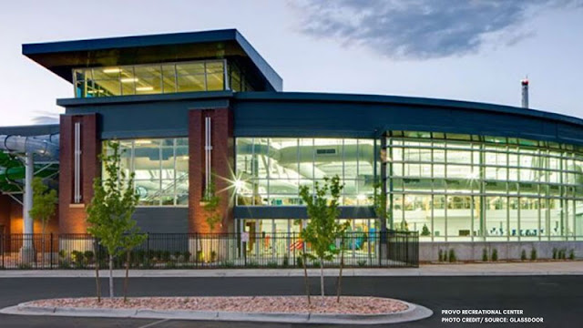 Glass window exterior of Provo Rec Center