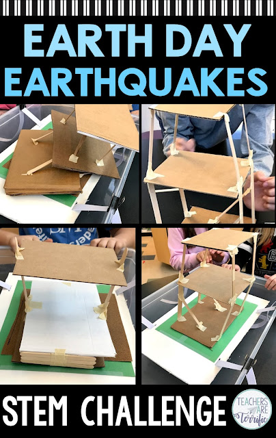 Perfect for Earth Day or any day. This STEM Challenge has students creating an earthquake resistant structure and testing it on a shake table. The resource includes two versions for making the shake table. It also includes a detailed and thorough teacher's guide with photos to help you prep the event! #STEM #elementary #earthquake