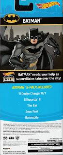Back of Hot Wheels Batman 5-Pack 2019