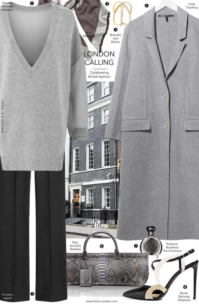 Another outfit idea in shades of grey inspired by London fashion week and British fashion designers and brands, and styled with new and ironic brands featuring Amanda Wakeley, Mulberry, Nicholas Kirkwood and more via www.look-a-porter.com, style & fashion blog