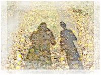 тень, опавшие листья, осень, двое, пара