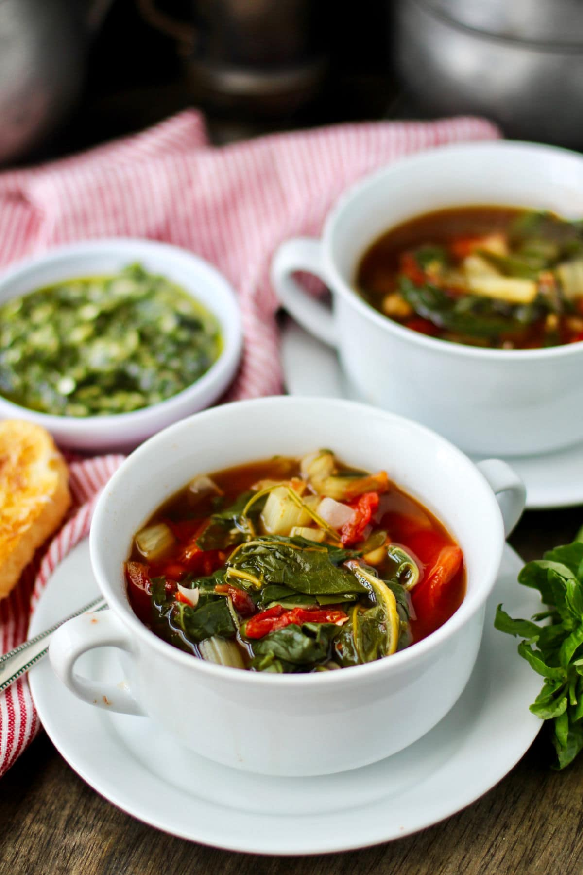 Swiss Chard and White Bean Soup with Basil Pesto on the side.