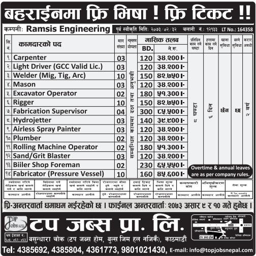 Free Visa, Free Ticket, Jobs For Nepali In Bahrain Salary -Rs.85,000/