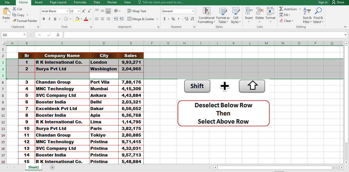 5 Important Excel Shortcut Keys That Make You An Expert In MS Excel Select,Shift + Up Arrow