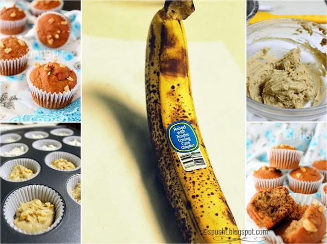 Spusht   Eggless Whole Wheat Banana and Walnut Muffin Recipe