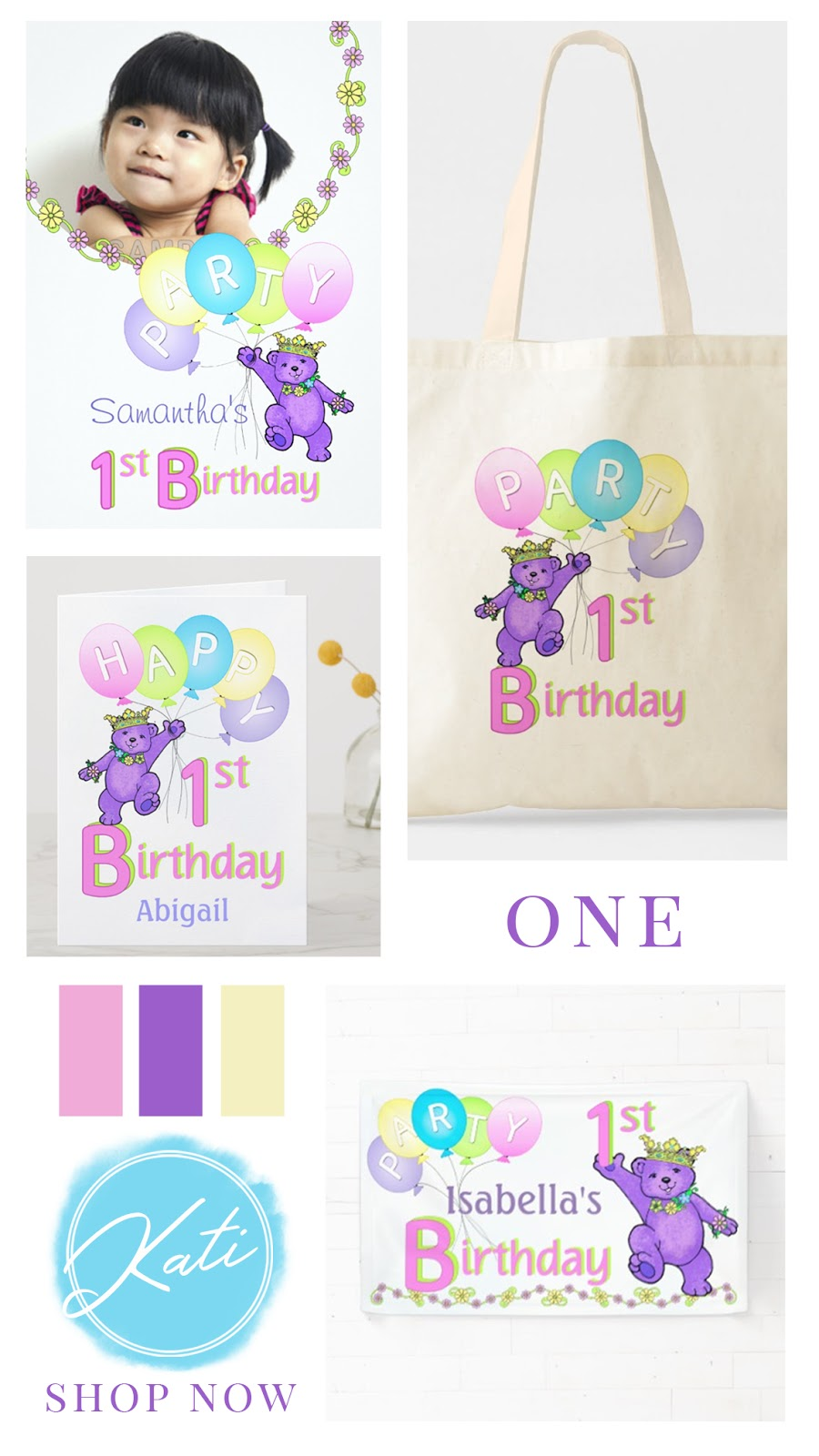 Purple bear and balloons first birthday party collection. Featuring personalized invitations, cards, bags, gifts, and party decor. In a confetti pink, sweetness yellow, cotton candy blue, and playful purple color palette.