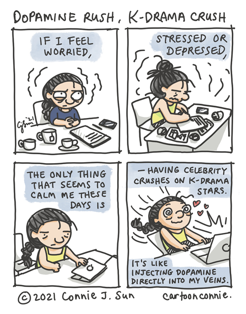 4-panel comic of a woman feeling anxious and stressed out, who discovers the stress relief of watching K-dramas. Just for fun sketchbook cartoon, diary comic, by Connie Sun, cartoonconnie