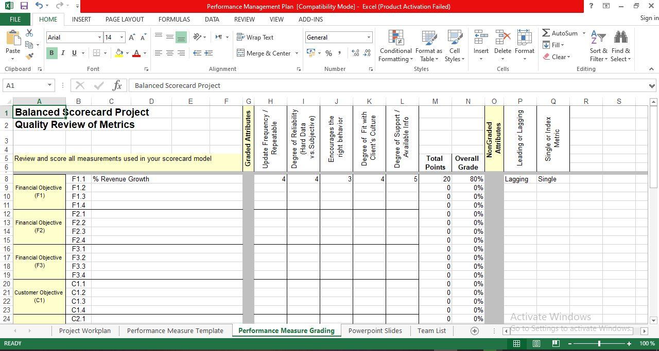 Performance management plan excel template