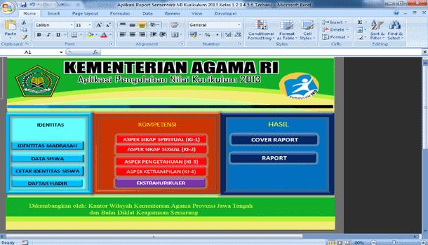Aplikasi Pengolahan Nilai Raport MI Kurikulum 2013 Format Microsoft Excel