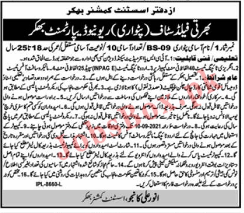 Revenue Department Punjab Jobs 2021 in Bhakkar – All Advertisements