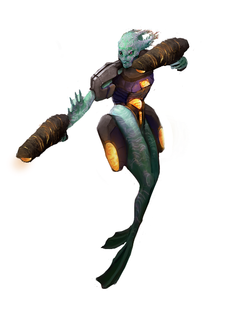 A person with two separate flippers for legs and the look of coral growing out of their head, with spiny fins on their arms. They are wearing a powersuit that has gun gauntlets.