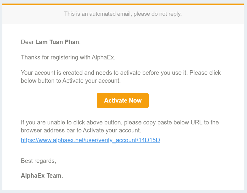 Đăng ký AlphaEx - Bấm vào Activate Now
