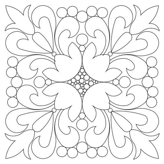 Tranh tô màu trang trí hình vuông họa tiết đơn giản