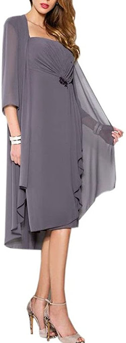 Chiffon Grey Mother of The Groom Dresses