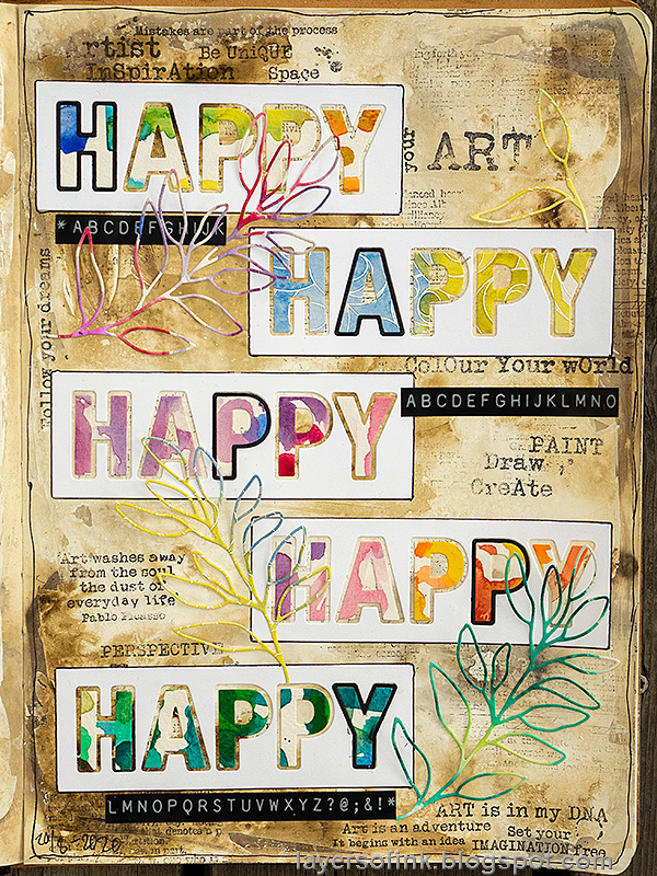 Layers of ink - Happy Art Journal Page Video Tutorial by Anna-Karin Evaldsson.
