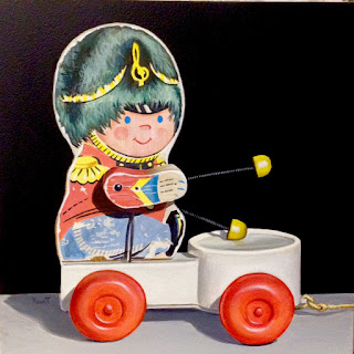 Acrylic painting of vintage music man toy