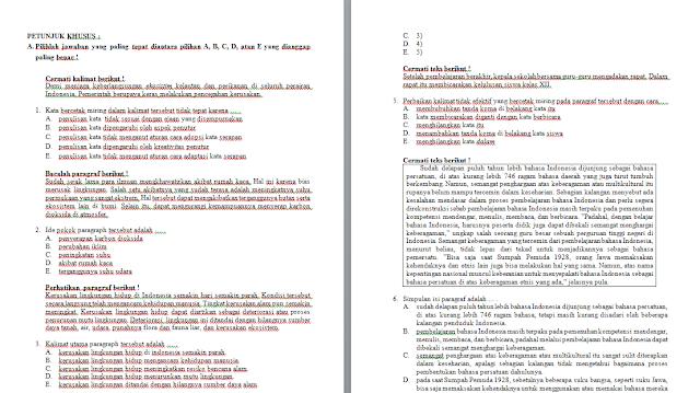Soal Ujian Sekolah/Madrasah Bahasa Indonesia (SMA/MA/SMK) dan Jawabannya