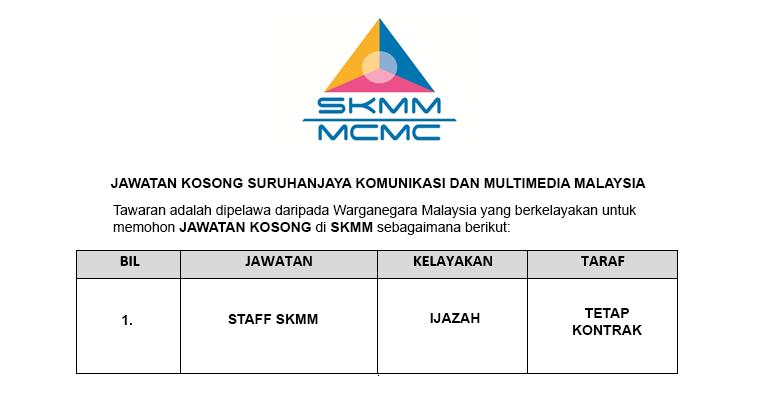 Jawatan Kosong Suruhanjaya Komunikasi dan Multimedia Malaysia SKMM