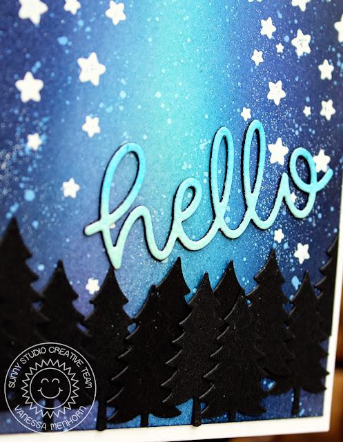 Sunny Studio Stamps: Cascading Stars Night Sky Hello Card by Vanessa Menhorn