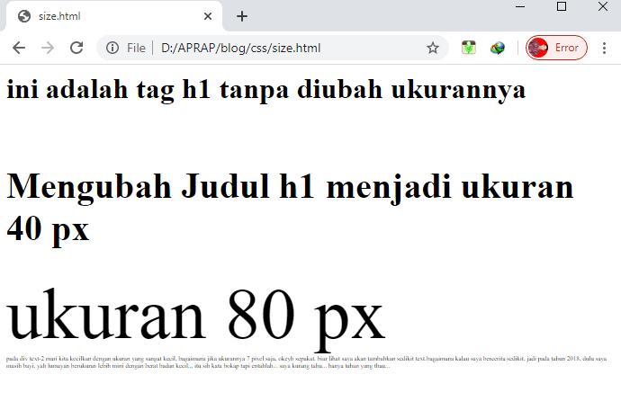 hasil mengubah ukuran text dengan font-size px