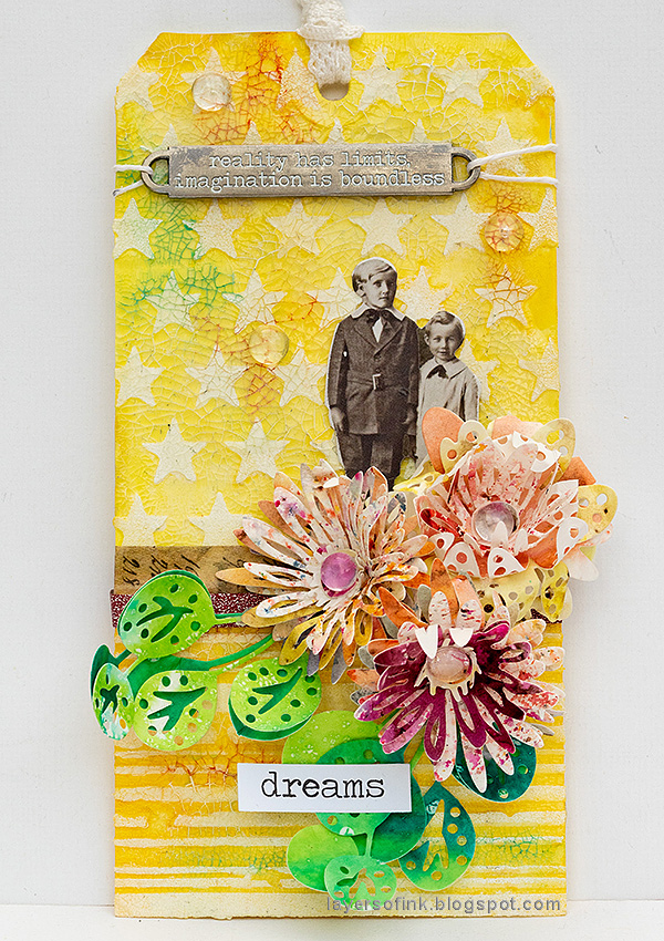 Layers of ink - Yellow Textured Tag by Anna-Karin Evaldsson.