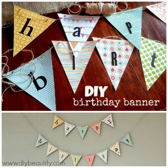 Simple DIY birthday banner www.diybeautify.com