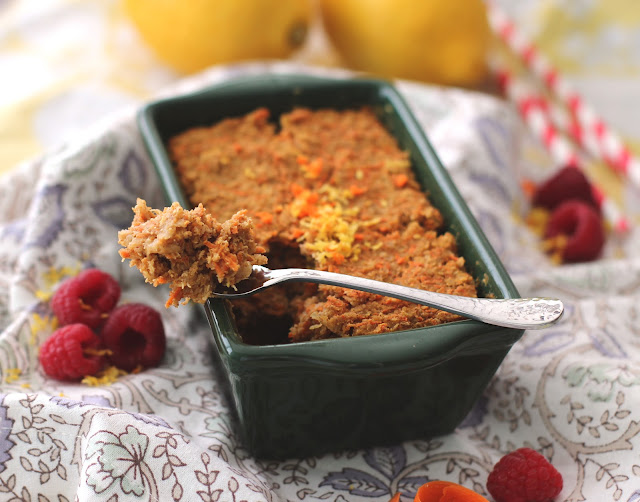 If you like baked oatmeal, then you'll LOVE this Carrot Cake Quinoa Flake Protein Loaf recipe! It's low fat, sugar free, gluten free, and vegan too.