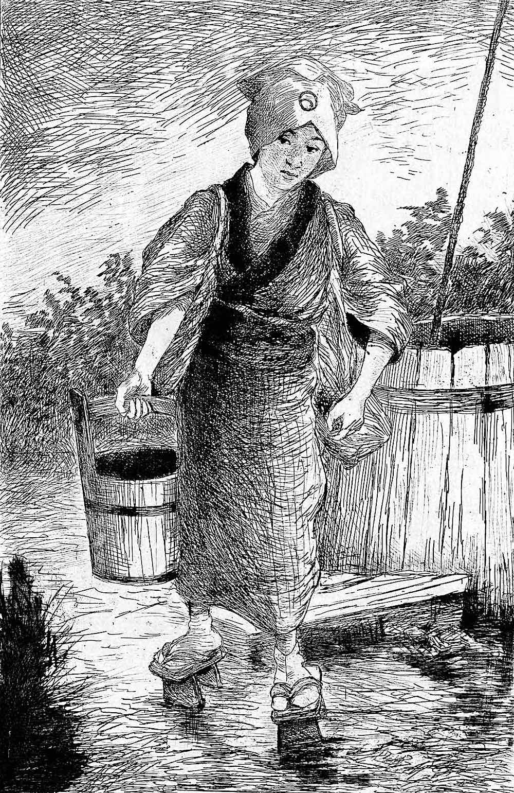 a girl's job in 1886 Japan illustrated
