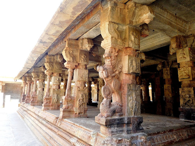 Yali (simha-vyala) pillars in the mandapa of the Bhoga Nandeeshwara Temple, Karnataka