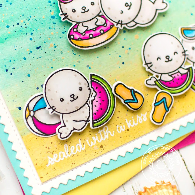 Sunny Studio Blog: Sealed With A Kiss Seal Summer Handmade Card by Mona Tóth (using Sealiously Sweet Stamps & Frilly Frames Chevron Dies)