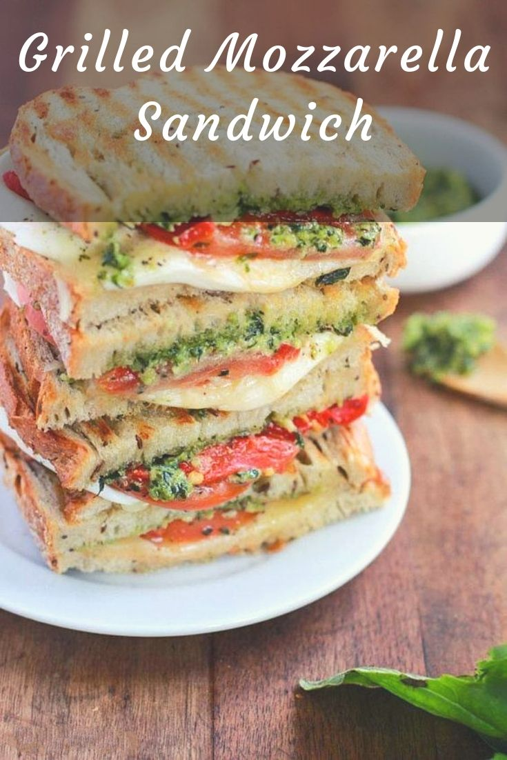 Homemade Grilled Mozzarella Sandwich with Walnut Pesto and Tomato that's easy to assemble and bursting with flavor - lunch never looked so good! | Pesto Sandwich | Mozzarella Sandwich | Italian Sandwich |