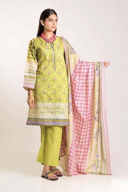 khaadi winter collection cambric yellow and pink 2 piece suit