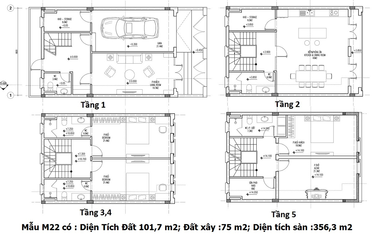 Mẫu thiết kế M22 Shophouse Larissa Athena Fulland
