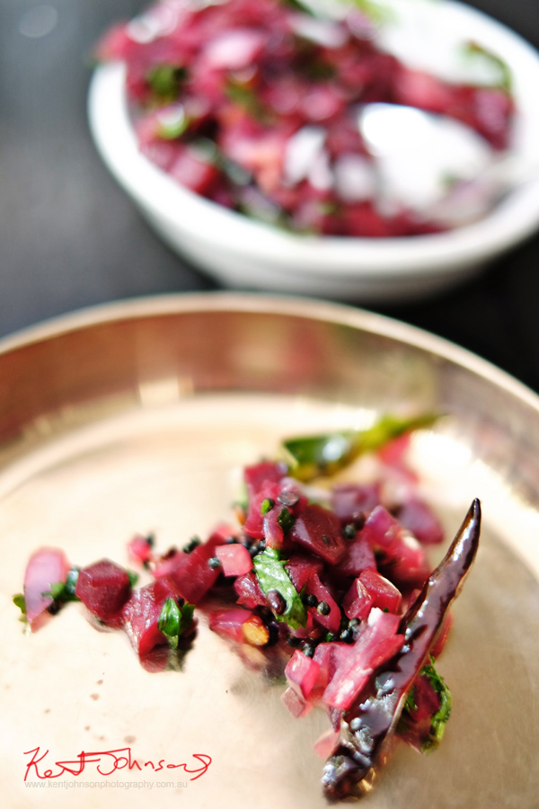 Detail of Beetroot Poriyal; Beetroot, mustard seeds, chillies, lentils, coconut at Masala Theory, Surry Hills. Photographed by Kent Johnson for Street Fashion Sydney.