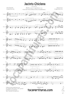 Violín Partitura a dos voces de Jacinto Chiclana Sheet Music for Violin Music Scores