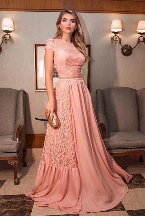vestido de festa longo rose com manga curta