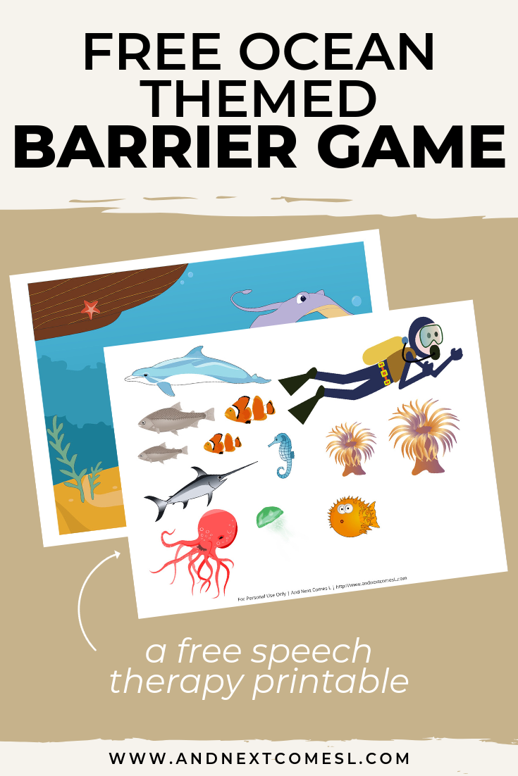 Free speech therapy barrier game: ocean themed