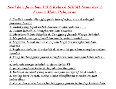 Download Soal UTS Kelas 6 SD MI Semester 1